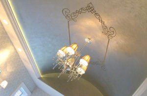 barrel ceiling with chandilier